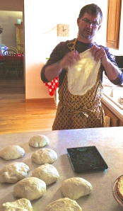 pulling apart the dough