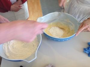 mixing the dough