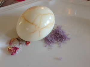 marbled egg, flavored salts