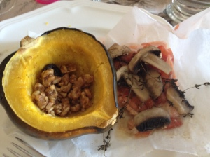 Salmon en papillate with acorn squash