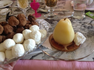 poached pears and truffles