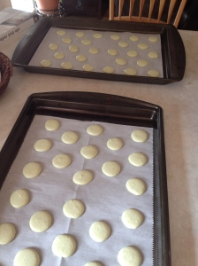 baking sheets of macarons