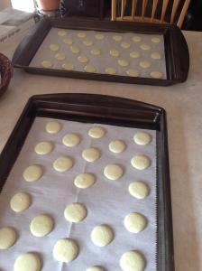 baking sheets of macarons